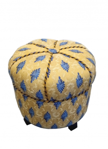 Le Pouf - Gelb mit blauem Muster @galleryeight